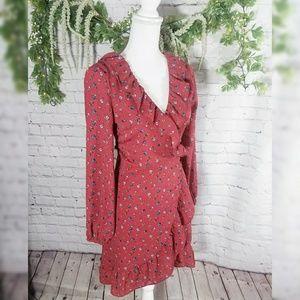 She + Sky Fall Wrap Style Long Sleeve Dress
